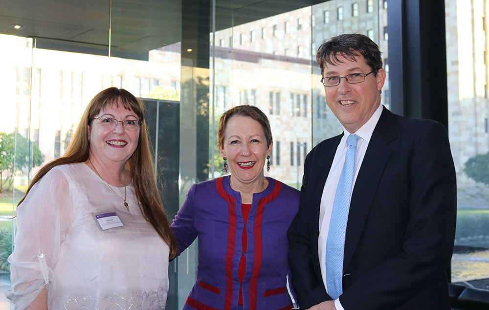 Dr Deb Walsh, The Honourable Di Farmer and Professor Bruce Abernethy, Executive Dean, Faculty of Health and Behavioural Sciences, UQ