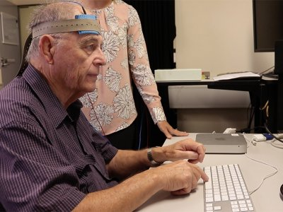 man undergoing brain stimulation