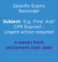 E.g. First Aid/CPR Expired – Urgent action required 4weeks from placement start date