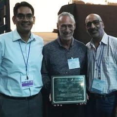 Dr Eduardo Bernabé and Professor Wagner Marcenes from Kings College London with UQ's Associate Professor Ratilal Lalloo.