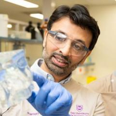 Dr Harendra Parekh with a demonstration model of the sol-gel technology