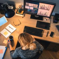 woman working at desk at home