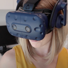 woman wearing VR mask