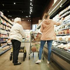 elderly women grocery shopping